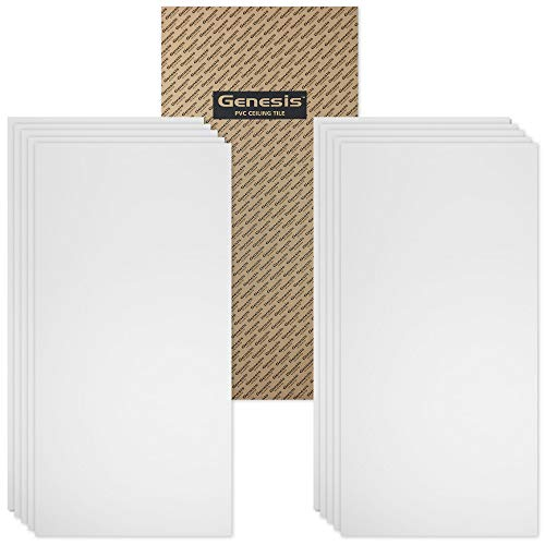 Genesis 2ft x 4ft Smooth Pro White Ceiling Tiles - Easy Drop-In Installation – Waterproof, Washable and Fire-rated - High-Grade PVC to Prevent Breakage - Package of 10 Tiles