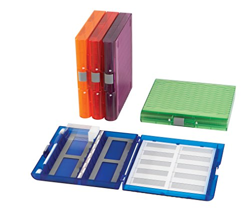 Heathrow Scientific 120593 Premium Plus Microscope Slide Box, 100 Slides, Slide Storage Box, Removable Inventory Card, Assorted Color (Pack of 5)