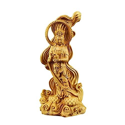 LIUBINGER Escultura Guanyin Buddha Estatua Feng Shui guanyin Escultura decoración consagrada casa guanyin sólido Madera Decoraciones Ciudad casa de la Ciudad Decoraciones seguras Manualidades