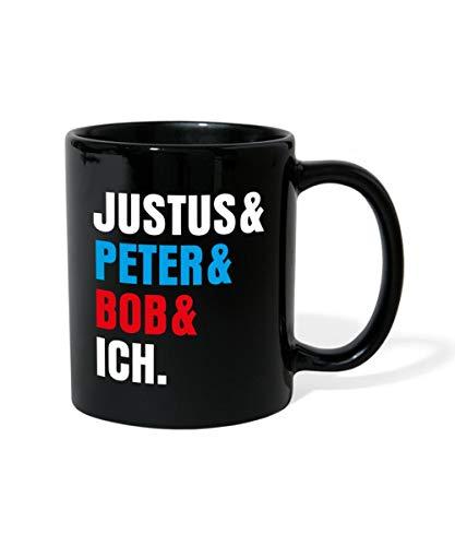 Spreadshirt Die Drei Fragezeichen Justus & Peter & Bob & Ich Tasse einfarbig, Schwarz