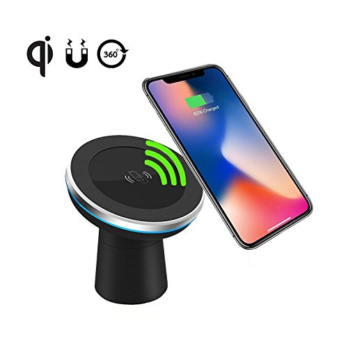 Qi Wireless Car Charger Spedal 2-in-1 Magnetic Vehicle Mount Phone Holder Air Vent or Dashboard for iPhone 8/iPhone 8 Plus/iPhone X/ Samsung Glaxy Note 8/S8/S8 Plus and All Qi-Enabled Devices