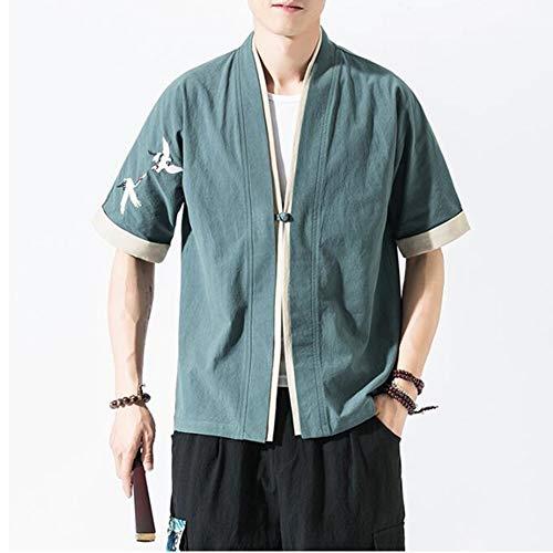 FTFDTMY Kimono de los hombres de lino Cardigan manga bordado Abrir frente abrigo Outwear Chaquetas Ligero Casual Algodón, Gris Azul, M
