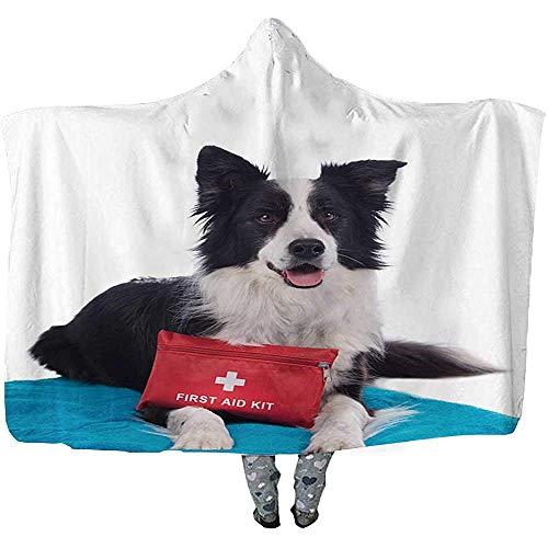 L.R.D Grens Collie Hond met EHBO-kit Gooi Draagbare Hooded Deken, Volwassen Dubbele Verdikking Draagbaar Deken 50