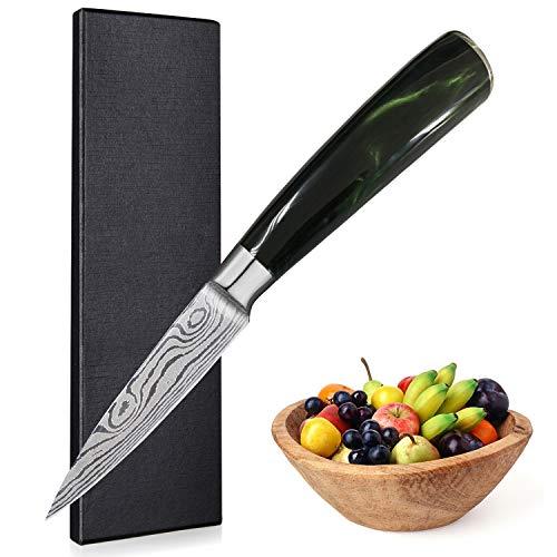 UniqueFire Cuchillo de Frutas - Cuchillo de Verduras - Cuchillo de Cocina, pelador de Verduras con Hoja de Acero alemán de Alto Contenido de Carbono de 9CM con Mango ergonómico y Resistente