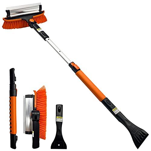 Tenozek 37.5  Ice Scraper and Extendable Snow Brush,Windshield Snow Ice Removal Broom with Ergonomic Foam Grip 180° Pivoting Brush Head for Cars, Trucks, SUVs (Orange)