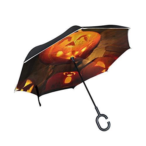 Paraguas invertido de Doble Capa a Prueba de Viento para Exteriores, Lluvia, Sol, Coche, Paraguas reversa con Mango en Forma de C, Linterna de Halloween