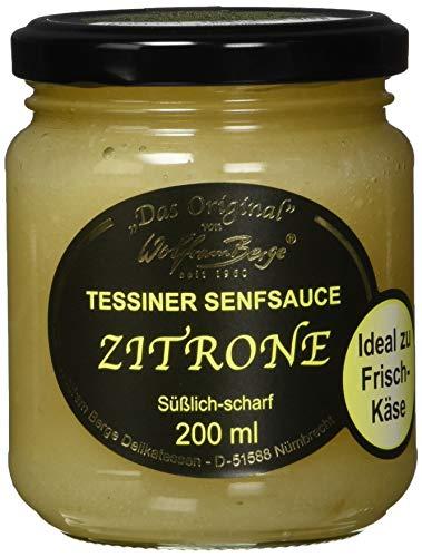 Wolfram Berge Original Tessiner Zitronen-Senfsauce - Feinkostsauce aus pürierten kandierten Zitronenschalen mit fein-scharfem Senfgeschmack.Hergestellt im Schweizer Tessin. 3er Pack (3 x 200 ml)