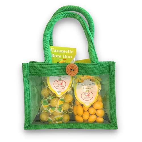 Confetti Caprese - Souvenir- Confetti Al Limone 200gr + Caramelle Frizzy Perle Bom Bon Limone 200gr - Confezione Regalo Con Borsetta
