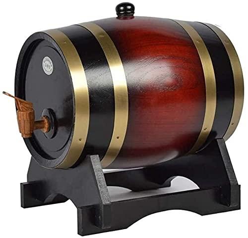 YHQKJ Bicchieri da Whisky Distributore di Botti di Whisky, Botti di invecchiamento di Quercia Decanter per Vino, liquori, Birra e liquore, 5L, Colore retrò