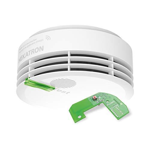 Hekatron 31-5000021-15-01 Rauchmelder Genius PLUS X inkl. Funkmodul Basis X – Optional funk-vernetzbar – 10 Jahre Lebensdauer der Batterie & mehrfarbig LED – Rauchwarnmelder in Weiß – 1 Stück
