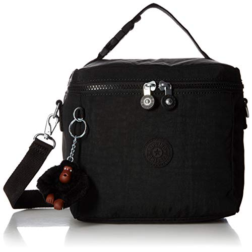 Kipling Graham Insulated Lunch Bag, Adjustable Crossbody Strap, Zip Closure, Black Tonal
