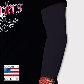 Tat2X Ink Armor Premium 3/4 Arm Tattoo Cover Up Sleeve - No Slip Gripper - U.S. Made - Black - ML (Single arm/Elbow Sleeve)
