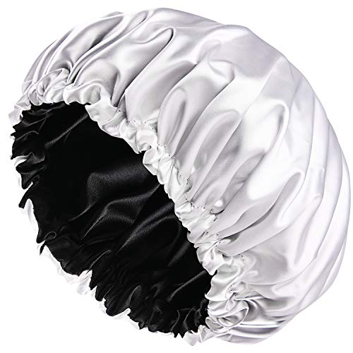 Satin Bonnet Sleep Bonnet Cap - Extra Large, Double Layer, Reversible, Adjustable Satin Cap for Sleeping Hair Bonnet(X-Large,White)