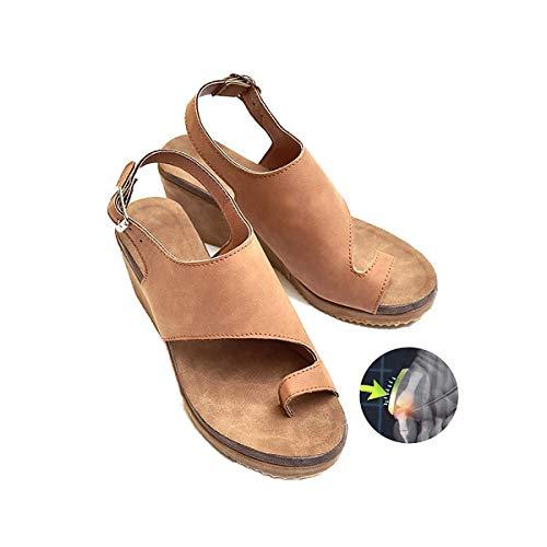 HJJGRASS Sandalias de corrección de pie de Dedo Gordo para Mujer con Soporte de Arco Sandalias ortopédicas Zapatos correctores de juanete Plataforma Suela Plana Zapatos Casuales de Mujer,Marrón,37