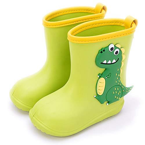 Gainsera Botas de Agua Niña Niño Botas de Agua Lluvia Impermeable Antideslizante Caucho de EVA Rain Boots, 1102 Verde22-23 EU