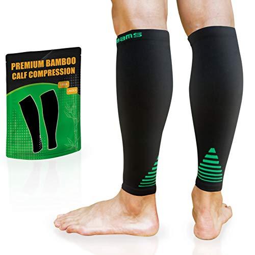BAMS Bamboo Leg & Calf Compression Sleeve for Men & Women- Shin Splints, Running