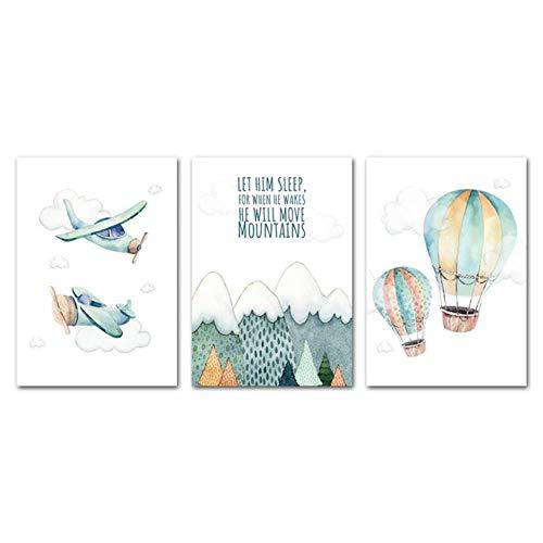 Kind avontuur poster print aquarel artwork vliegtuig ballon canvas schilderij muur foto nordic kids jongen slaapkamer decoratie, 3 stuks set, 40x50cm geen frame