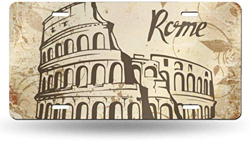 Dom576son 6' x 12' License Plate Sign, Aluminum Sign, Rome Colosseum 50 State Personalized Custom Novelty Tag Vehicle Auto Car Bike Bicycle Motorcycle Moped Key Chain License Plate Aluminum Sign