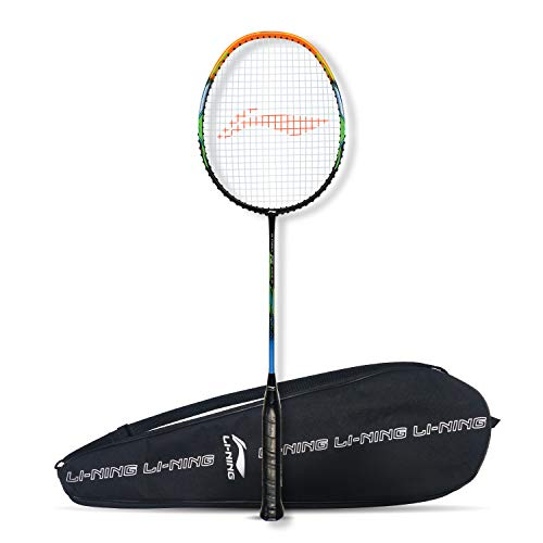 Li-Ning G-Force Superlite 3700 Carbon-Fiber Strung Badminton Racquet with Free Full Cover (Black/Amber)