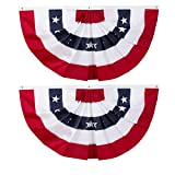58'x27' USA Patriotic Nylon Bunting Pleated Flag, 2 Sided, Embroidered Stars, Sewn Stripes, Grommets- July 4th American Flag Decor Outdoor Use- Inside Outside Porch Rail or Window Decoration (2 Pack)