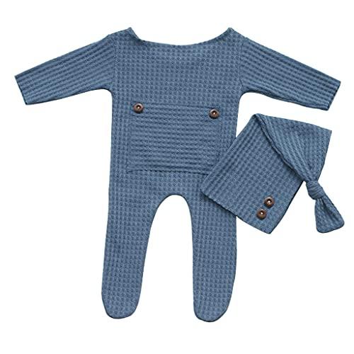 PHILSP Sombrero de beb 2 Piezas Sombrero de beb Body Recin Nacido Accesorios de fotografa Gorro de Cola Larga de Punto Mameluco Azul