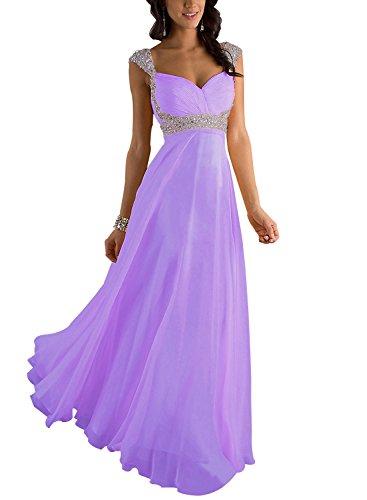 Erosebridal Erosebridal Formal Chiffon Lange Brautjungfernkleider Abendkleid DE 50W Lavendel