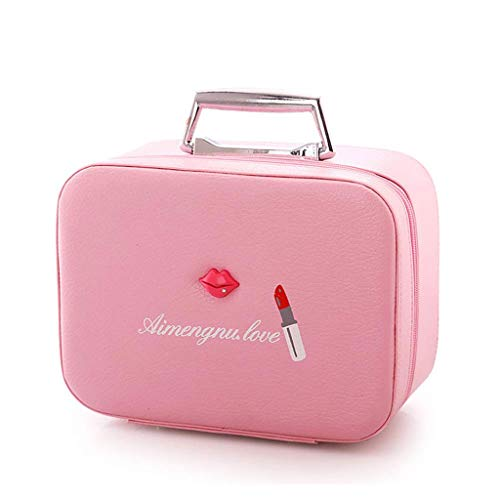 XYZMDJ Sac cosmétique, Petit Portable Voyage Corée Simple Grande capacité Produit Cute Girl Coeur Multi-Couche Fonction Boîte de Rangement (Color : Pink)