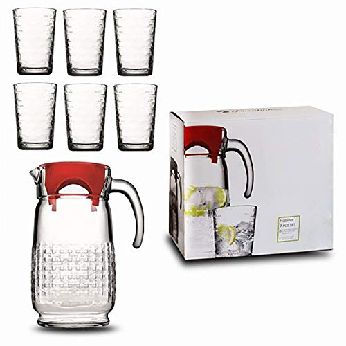 Jarras de Cristal, Jarra Agua Cristal con Tapa, Juego de Jarra y 6 Vasos Cristal, Menaje Elegante/Simple - Hogar y Más