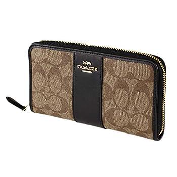 Coach Signature PVC Leather Accordion Zip Wallet F54630 - Khaki/Black