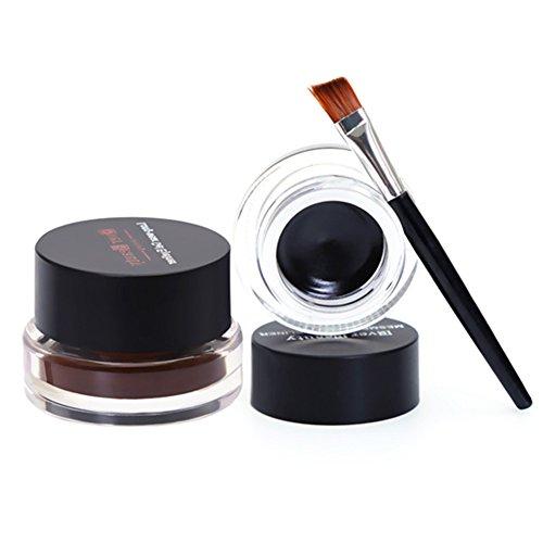 Demarkt Marrón Negro 2 en 1 impermeable Delineador en gel de cosmético + cepillo