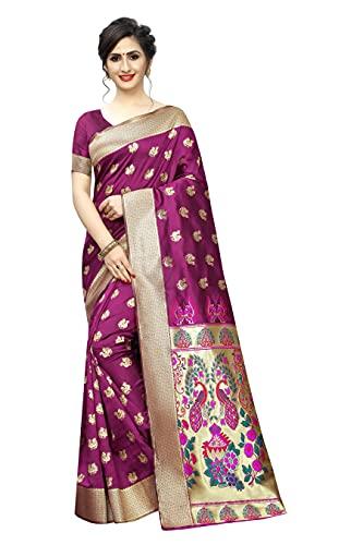 satyam weaves women's ethnic wear banarasi jacquard cotton silk saree. (Sindoori)