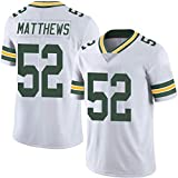 American Football Disfraz Men, 2019 Matthews 52 Nelson 87, Fan Game Uniform, Pantalones Cortos de Playa, Camiseta de Rugby Top Manga Corta White 52-M