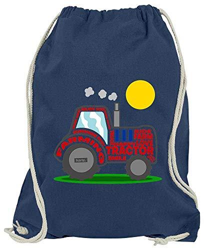 HARIZ Turnbeutel Traktor Sonne Fahrzeuge Traktor Plus Geschenkkarte Navy Blau One Size