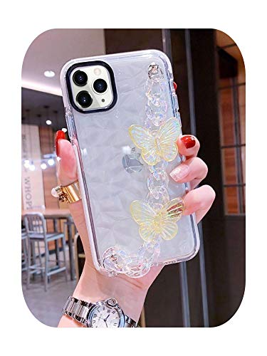 Diamond texture 3D Laser butterfly Wrist bracelet Phone Case for iPhone 11 12 Pro 7 8 plus XS Max XR Clear Cover funda-1-for iphone X
