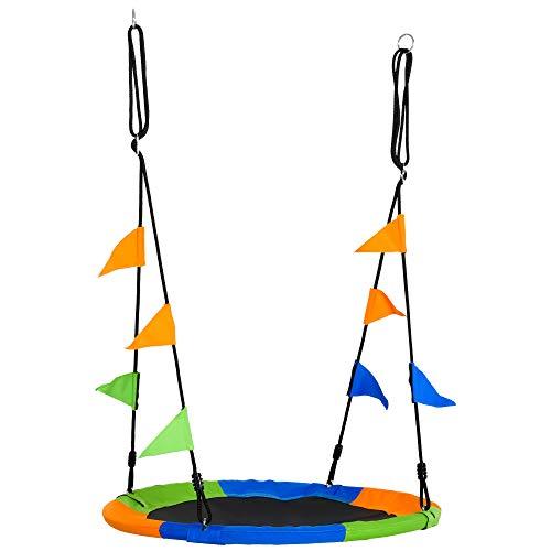 Outsunny Columpio de Jardín Nido Altura Ajustable con Cuerdas y Banderas para Niños y Adultos Carga 80 kg Interior y Exterior Ø100x180 cm Multicolor