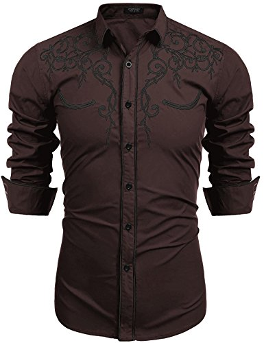 COOFANDY Men's Long Sleeve Shirt Embroidery Slim Fit Casual Button Down Shirt