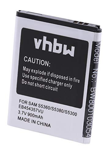 vhbw Li-Ion Akku 900mAh (3.7V) für Smartphone, Handy Samsung Galaxy Pocket GT-S5300, Wave Y GT-S5380, GT-S5360 u.a. wie EB454357VU, EB454357VA.