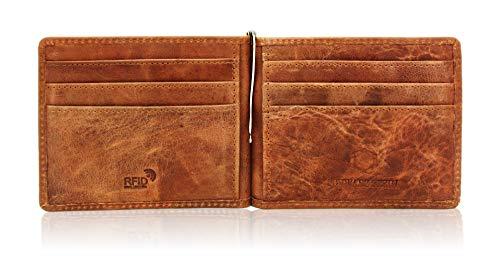 Schwarz Stein Schwarz Stein RFID Herren Karten-Etui mit Geldklammer - aus echtem Büffel-Leder - stilvolle & sichere Geldbörse Dank Diebstahlschutz (Braun)
