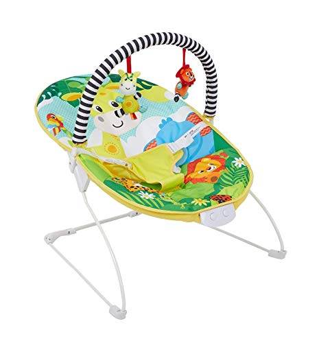 Baby Bright Colourful Safari Bouncer with Soothing Music Vibration and Toys 0m+ 695