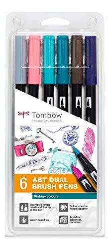 Tombow ABT-6P-5 Lot de 6 feutres pinceau ABT à deux pointes, couleurs vintage