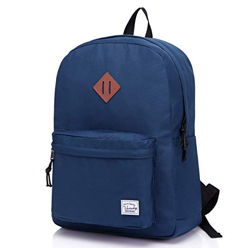 Lightweight Backpack for School, VASCHY Classic Basic Water Resistant Casual Daypack for Travel with Bottle Side Pockets (Navy)