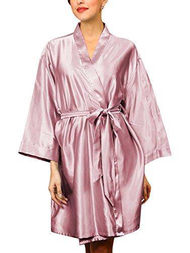 Dolamen Unisex Mujer Hombre Vestido Kimono Satén, Camisón para Mujer, Lujoso Robe Albornoz Dama de Honor Ropa de Dormir Pijama, Busto 132 cm, 51,97inch, de Gran tamaño para Todos (Luz púrpura)