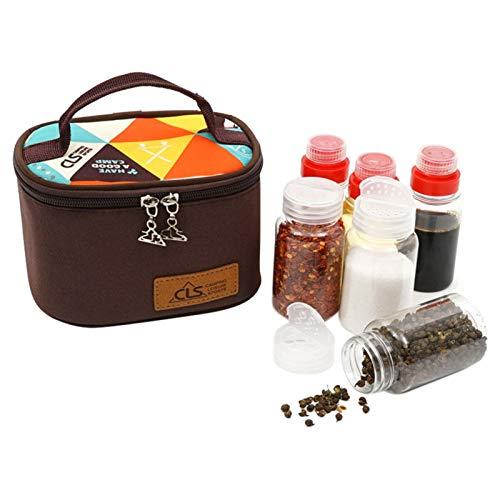 Gidenfly Juego de 6 frascos de especias portátil con bolsa de almacenamiento, botella de vinagre de aceite, salsa y condimentos, para barbacoa y camping al aire libre