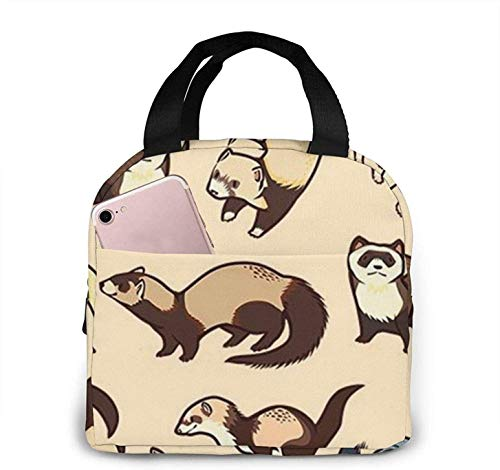 Hairy Ferret Skull Octopus Art Lunch Bag Insulated Lunch Tote Handbag Reusable Cooler Bag Lunch Box for Picnic Travel Office Beach