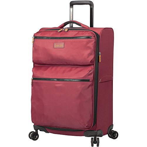 Lucas Designer Luggage Collection - Expandable 28 Inch Softside Bag - Durable Large Ultra Lightweight Checked Suitcase with 8-Rolling Spinner Wheels (Red)