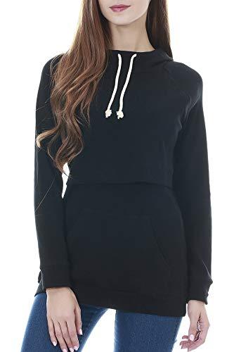 Smallshow Damen Mutterschaft Pflege Stillen Sweatshirt Langarmshirt Hoodie Stillpullover Kapuzenpullover Top Taschen Black 2XL