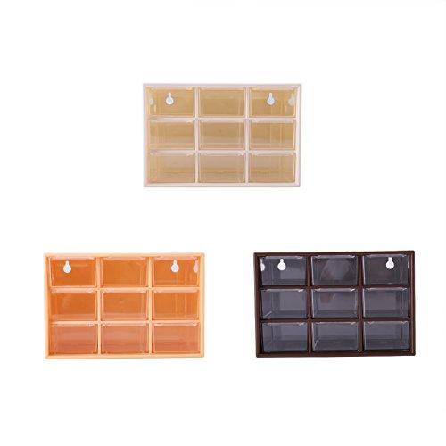 Oumefar Plástico portátil 9 celosía Mini gabinetes cajón joyería Caja de Almacenamiento...