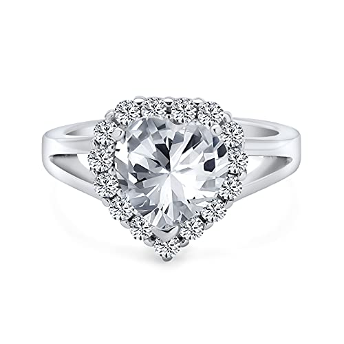 Declaración 3CT AAA CZ Brilliant Cut Heart Shape Halo Promise Engagement Ring For Women .925 Sterling Silver High Profile Setting Split Band