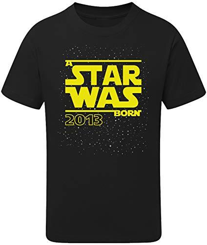 Geburtstags Shirt: Star was Born 7 Jahre - T-Shirt für Jungen und Mädchen - Geschenk-Idee zm 7. Geburtstag - Junge - Jahrgang 2013 - Sieben - Lustig Cool Witzig - Kind-er - Trikot Pyjama (134/146)