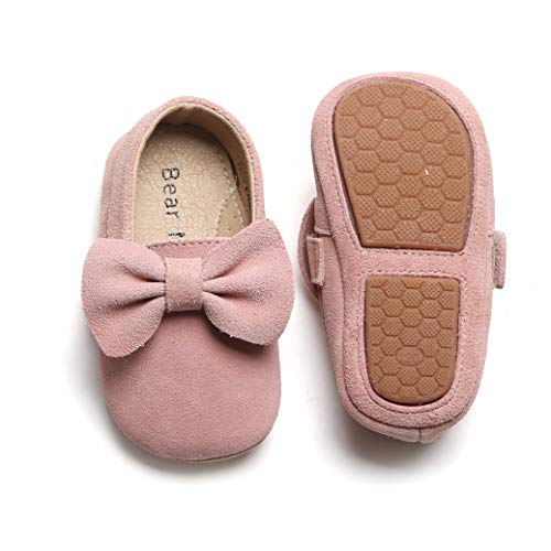 Bear Mall Infant Toddler Baby Moccasins Soft Sole Bowknot Baby Walking Shoes Mary Jane Dress Shoes (12-18 Months Infant, Pink)